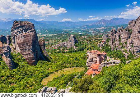 Meteora, Greece. Sandstone Rock Formations, The Rousanou And Nikolaos Monasteries