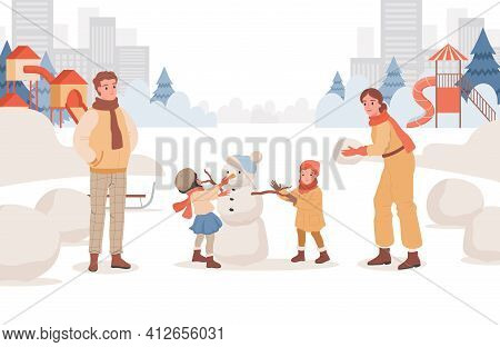 Happy Smiling Parents Spending Weekends With Their Children Outdoor At Winter City Park Vector Flat