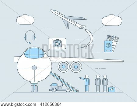 Air Travel Application Vector Outline Illustration. Plane With Ramp, Flying Plane, Passports With Ti