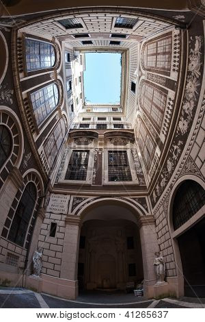 Courtyard of palazzo, Italian Architecture - Rome