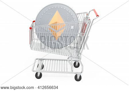 Shopping Cart With Ethereum. 3d Rendering Isolated On White Background