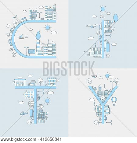 City Word Vector Flat Line Illustration. Outline Concept, Urban Landscapes With Buildings, Cars, Pla