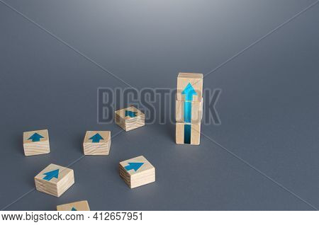 Block Tower Of Arrows And Extra Blocks. Growth, Development Progress Concept. Achieve Success. Caree