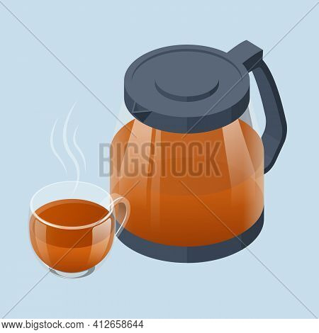 Isometric Tea Ceremony Icon. Fresh Brewed Black Tea In A Glass Teapot And Cup Of Tea. Traditional As