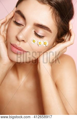 Beauty Face. Smiling Woman Touching Healthy Skin Portrait. Beautiful Happy Girl With Fresh Glowing H
