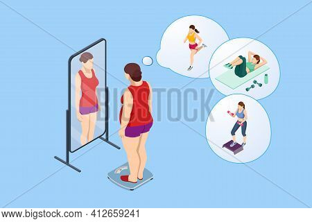 Isometric Healthy Food And Diet Planning. Fat Woman Looks With A Mirror And Introduces Herself Slend