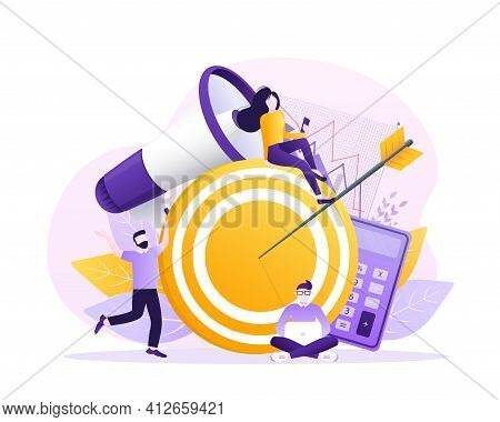 Business Strategy Target, Great Design For Any Purposes. Flat Isometric Vector Illustration. Digital