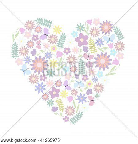 Easter Floral Heart Composition Pastel Colored Butterflies, Cute Flowers Arrangement, Flat Style Vec