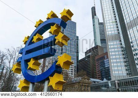 Willy Brandt Square In The Financial District Of Frankfurt Germany - Frankfurt, Germany - March 11,