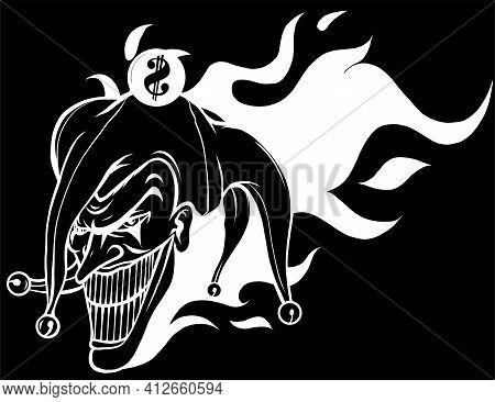 Laughing Angry Joker, Character, Joker Head, Silhouette In Black Background Vector Illustration