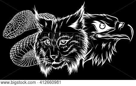 Lynx Wildcat Eagle Snake Logo Mascot Silhouette In Black Background