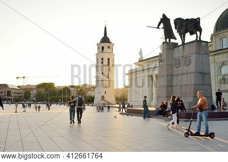 Vilnius, Lithuania - August 14, 2020: The Cathedral Square, Main Square Of The Vilnius Old Town, A K