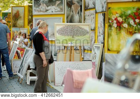 Vilnius, Lithuania - September 5, 2020: Artists Selling Paintings At Nations Fair, Where Masters Fro