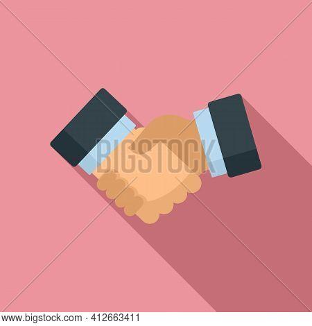 Affiliate Marketing Handshake Icon. Flat Illustration Of Affiliate Marketing Handshake Vector Icon F