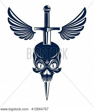 Skull Killed By A Dagger Knife With Wings Vintage Vector Emblem Or Logo Isolated On White, Vintage S