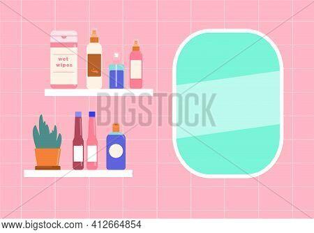 Bathroom Shelf Vector Illustration In Flat Design Mirrow And Cosmetic Shelf In Pink Bathroom
