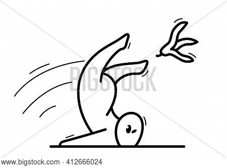 Small Funny Cartoon Man Falls Because Of Banana Skin Vector Flat Style Illustration Isolated On Whit