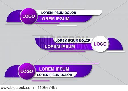 Modern Geometric Lower Third Banner Template Design. Colorful Lower Thirds Set Template Vector