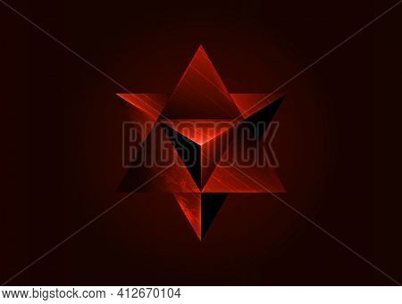 Sacred Geometry. 3d Red Merkaba Solid Geometric Triangle Shape. Esoteric Or Spiritual Symbol. Isolat