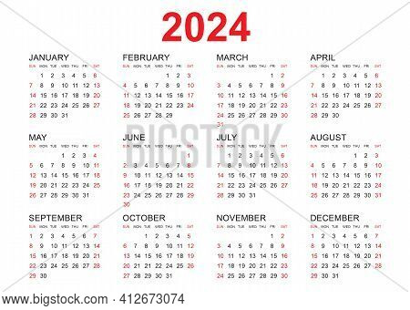 Calendar 2024 Template Vector, Simple Minimal Design, Planner 2024 Year, Wall Calendar 2024 Year, We