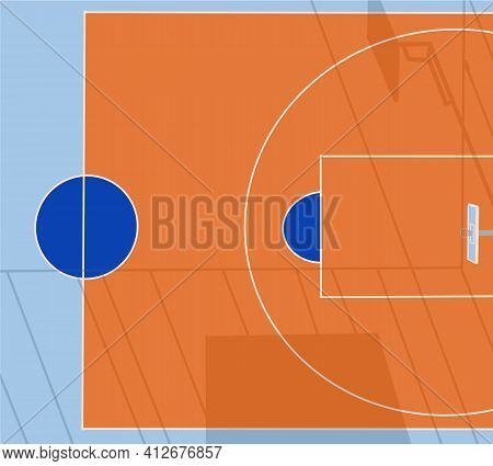 Basketball Court On Street. Outdoor Sport Arena With Baskets For Game. Playground For Competition, C