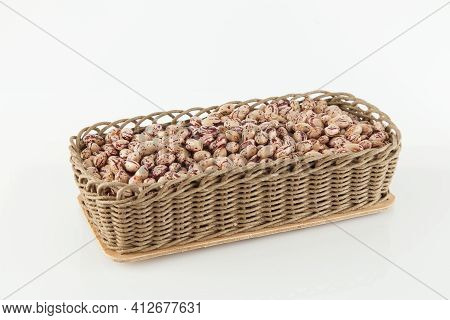 Pinto Beans, A Legume Native To The American Continent; Photo On White Background.