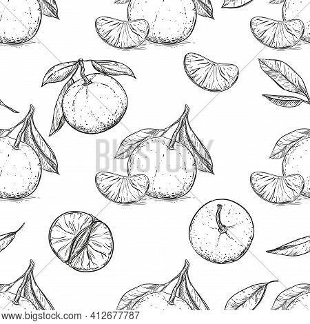 Mandarin, Tangerine Seamless Pattern On White Background. Vector Illustration Of Fruit In Cartoon Si