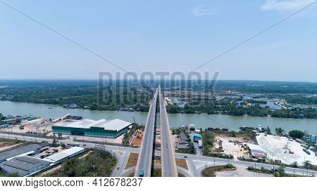 Aerial View Highway Traffic Road With Cars.view Above Amazing Aerial View Of The Road And Skyline.lo