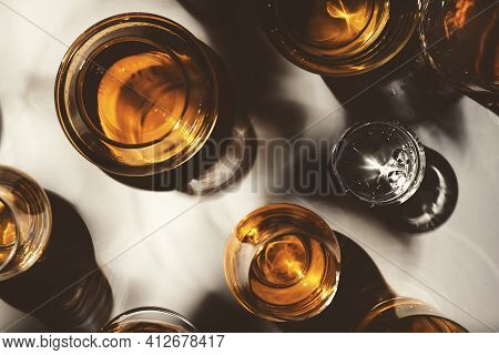 Hard Strong Alcoholic Drinks, Spirits And Distillates In Glasses: Vodka, Cognac, Tequila, Scotch, Br