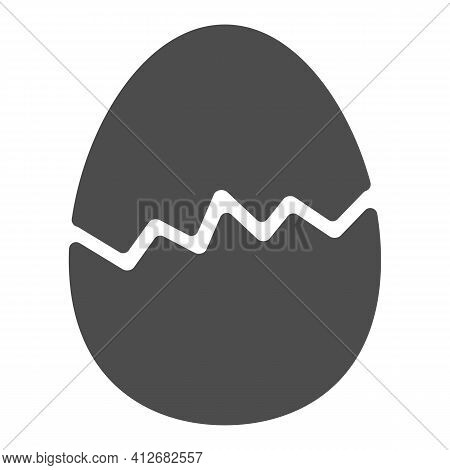 Cracked Egg Solid Icon, Happy Easter Concept, Happy Easter Greeting Card Sign On White Background, B
