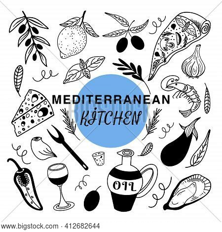 Vector set of doodles isolated elements of Mediterranean cuisine. Italian, European cuisine is a group of ingredients for food preparation.