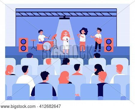 Children Giving Concert For Parents In School. Kids Signing, Playing Guitar And Drums. Flat Vector I
