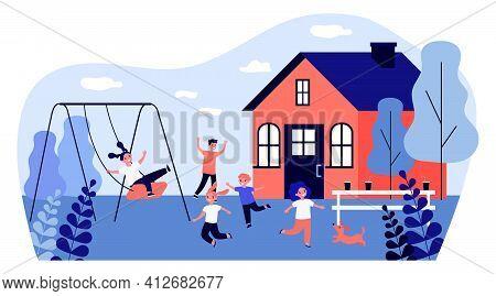 Happy Children Playing Backyard. Swing, Game, Fun. Flat Vector Illustration. Summer, Outdoor Activit