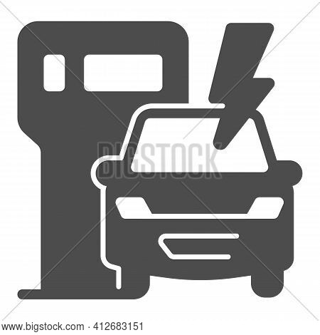 Ev Charging Station And Vehicle Solid Icon, Electric Car Concept, Electric Vehicle Charging Station