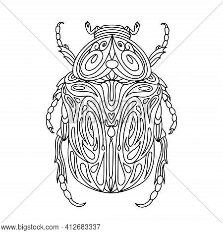 Beetle Bronze Coloring Book. Bronze Beetle Linear Vector Illustration. Anti-stress Coloring Book For