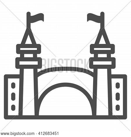 Gate To Amusement Park Line Icon, The Rides Concept, Castle Silhouette Sign On White Background, Amu