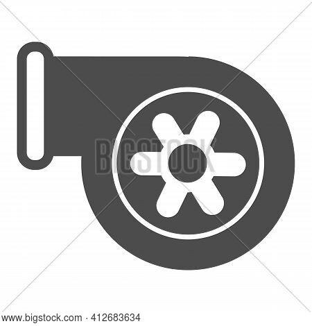Automotive Turbine Solid Icon, Car Parts Concept, Car Turbine Sign On White Background, Turbocharger