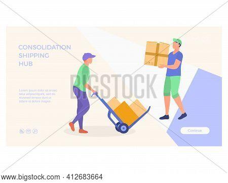 Consolidation Shipping Hub Landing Page. Flat Vector Illustration