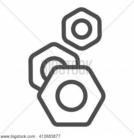 Nuts For Screws Line Icon, Car Parts Concept, Screw-nut Sign On White Background, Nut Icon In Outlin