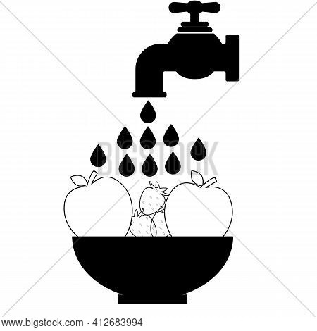 Clean Food Icon On White Background. Washing Vegetables Fruit. Washing Fruit Sign. Flat Style. Water