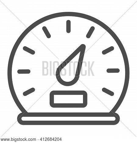 Car Speedometer Line Icon, Car Parts Concept, Car Instrument Sign On White Background, Speedometer O