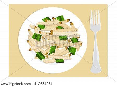 Food Insects: Bamboo Worm Or Bamboo Caterpillar Insect Deep-fried Crispy For Eating As Food Items On