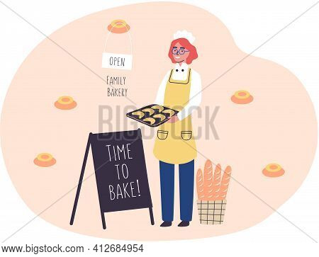 Family Bakery Concept With Happy Woman Baker Holding Tray Of Croissants. Confectioner With Bread
