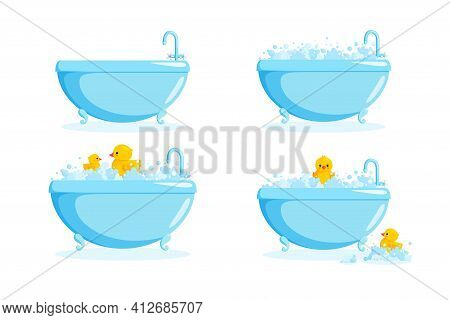 Bathtub With Rubber Duck In Suds. Set With Bathtubs And Yellow Ducks In Bubbles And Suds. Vector Ill