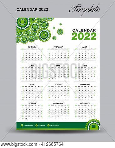 Wall Desk Calendar 2022 Template, Desk Calendar 2022 Design, Week Start Sunday, Business Flyer, Set