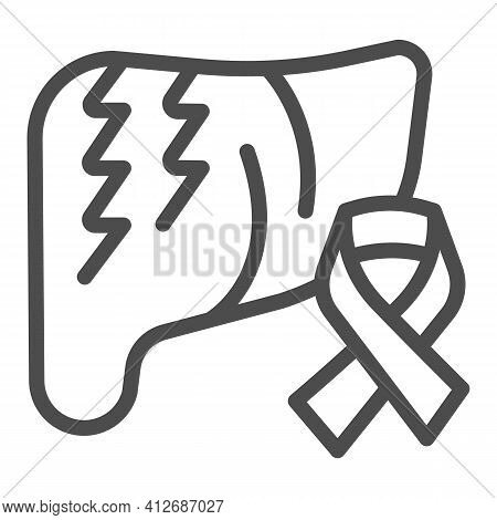 Liver And Cancer Tape Line Icon, World Cancer Day Concept, Ribbon For Liver Cancer Sign On White Bac