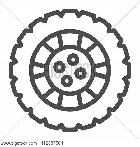 Winter Tire And Car Wheel Disc Line Icon, Car Parts Concept, Automobile Tire Sign On White Backgroun