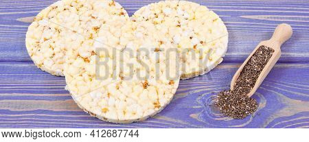 Crunchy Rice Or Corn Waffles With Chia Seeds And Spices, Concept Of Healthy Dietary Breakfast