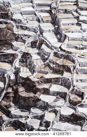Aerial view of Salinas salt pans, Sacred Valley, Peru