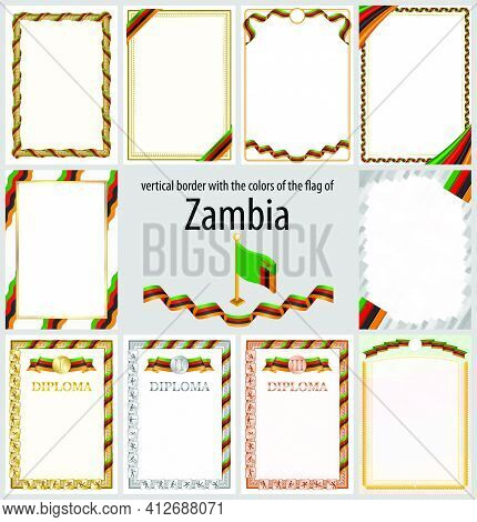 Set Of Vertical Frames And Borders In The Colors Of The Flag Of Zambia, Template Elements For Your C